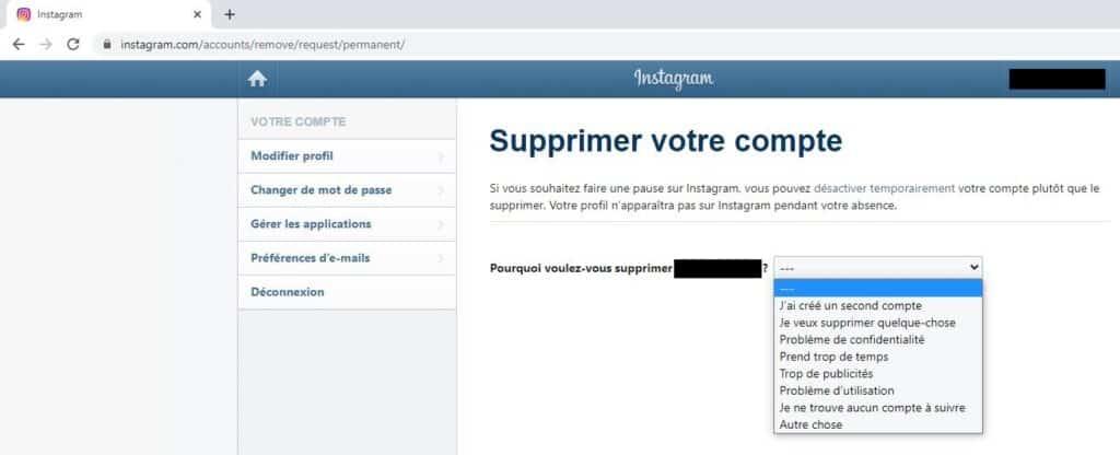 Supprimer Instagram